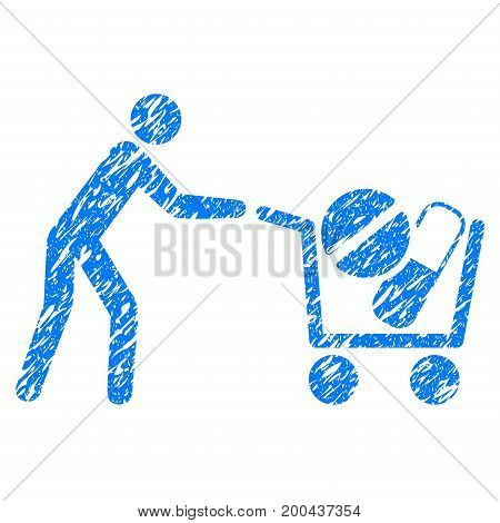 Grunge Drugs Shopping Cart icon with grunge design and dust texture. Unclean vector blue pictogram for rubber seal stamp imitations and watermarks. Draft sticker symbol.