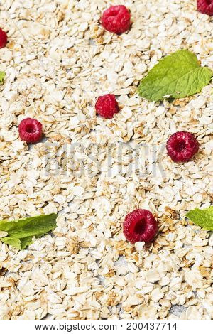 Glanola With Raspberry And Mint. Food Background
