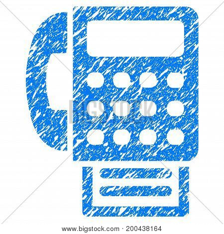 Grunge Fax icon with grunge design and dust texture. Unclean vector blue pictogram for rubber seal stamp imitations and watermarks. Draft emblem symbol.