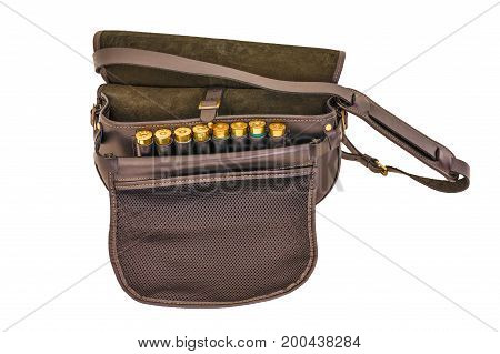 Ammo cartridge pouch, top view, isolated background