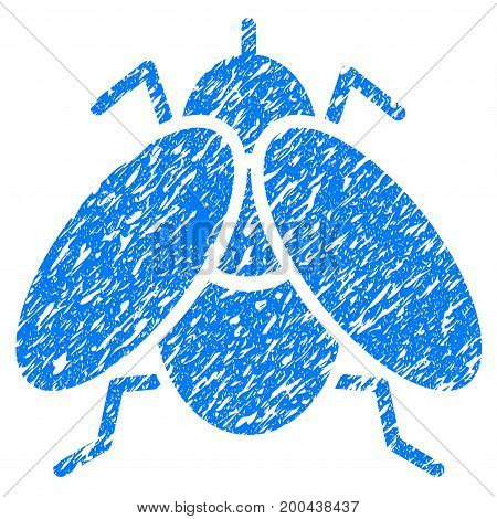 Grunge Fly icon with grunge design and scratched texture. Unclean vector blue pictogram for rubber seal stamp imitations and watermarks. Draft emblem symbol.