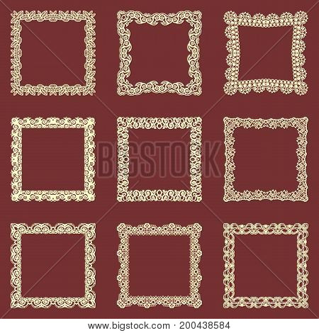 Set of square vintage frames isolated background. Vector design elements that can be cut with a laser. A set of frames made of decorative lace borders.