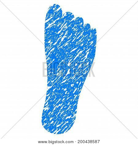 Grunge Foot icon with grunge design and dust texture. Unclean vector blue pictogram for rubber seal stamp imitations and watermarks. Draft sticker symbol.