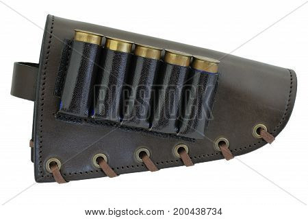 Rifle Buttstock Cartridge Holder, close-up, isolated background