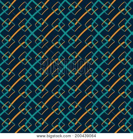 Seamless geometric pattern in hand drawn style. Abstract graphic print in retro blue and orange colors