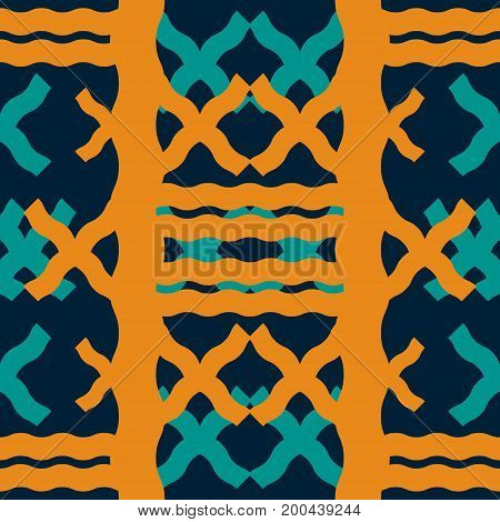 Seamless geometric pattern of thick wavy lines. Abstract print in retro blue and orange colors