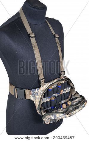 Bandolier placed on a layman-figure, isolated background