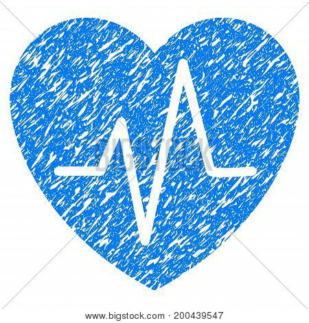 Grunge Heart EKG icon with grunge design and unclean texture. Unclean vector blue pictogram for rubber seal stamp imitations and watermarks. Draft sign symbol.