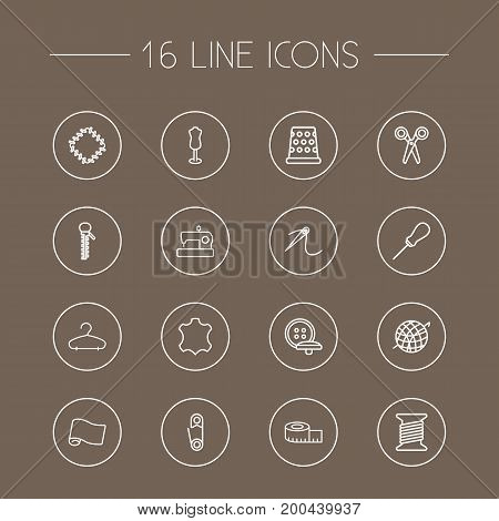Collection Of Zipper, Dummy, Tremble And Other Elements.  Set Of 16 Sewing Outline Icons Set.