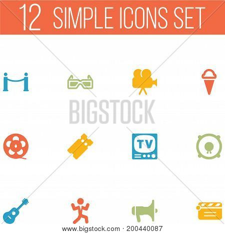 Collection Of Sorbet, Spectacles, Cinema Fence And Other Elements.  Set Of 12 Entertainment Icons Set.