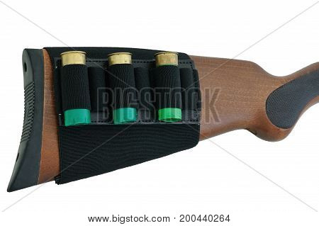 Rifle Buttstock with Cartridge Holder, isolated background