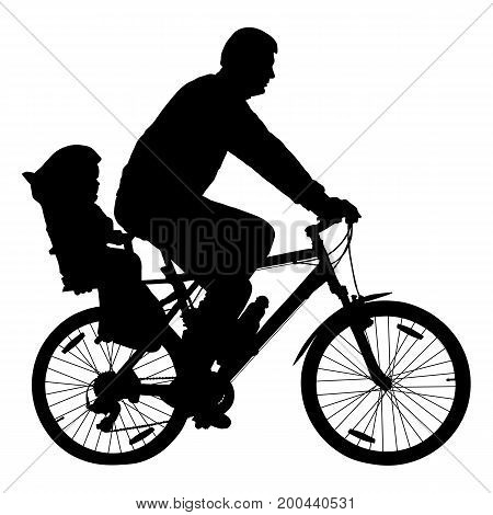 Man with child on bicycle cyclist silhouette vector