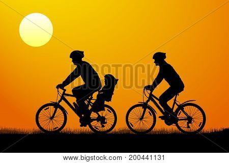 Young couple with child on mountain bikes at sunset vector silhouette