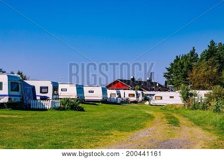 Camping Life With Caravans In Nature Park