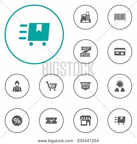 Collection Of Best Offer, Cargo, Payment And Other Elements.  Set Of 12 Store Icons Set.