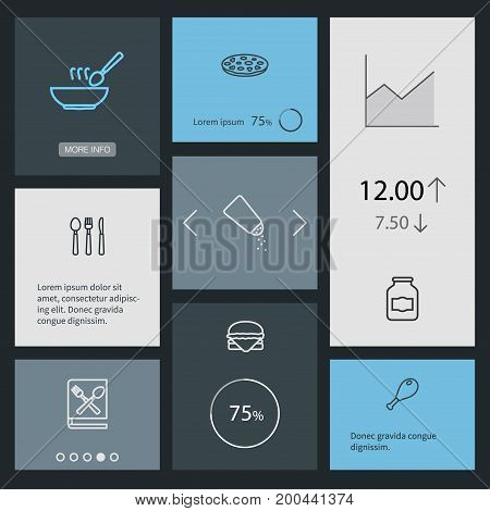 Collection Of Book Of Recipes, Pizza, Soup And Other Elements.  Set Of 8 Kitchen Outline Icons Set.