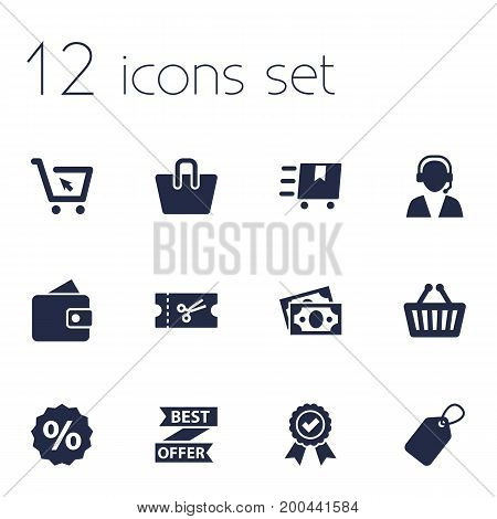 Collection Of Bag, Best Offer, Dollar And Other Elements.  Set Of 12 Store Icons Set.