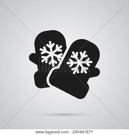 Vector Mitten Element In Trendy Style.  Isolated Glove Icon Symbol On Clean Background.