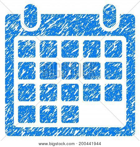 Grunge Month icon with grunge design and dirty texture. Unclean vector blue pictogram for rubber seal stamp imitations and watermarks. Draft sign symbol.