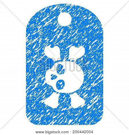 Grunge Morgue Mark icon with grunge design and unclean texture. Unclean vector blue pictogram for rubber seal stamp imitations and watermarks. Draft sign symbol.