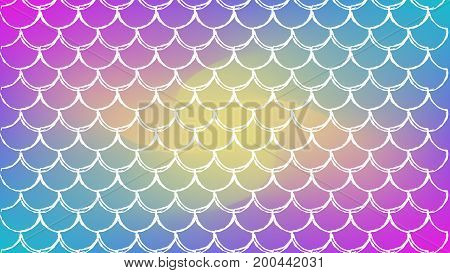 Fish scale on trendy gradient background. Horizontal backdrop with fish scale ornament. Bright color transitions. Mermaid tail banner and invitation. Underwater sea pattern. Rainbow colors.