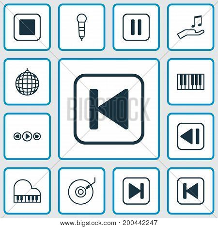 Audio Icons Set. Collection Of Microphone, Last Song, Gramophone And Other Elements