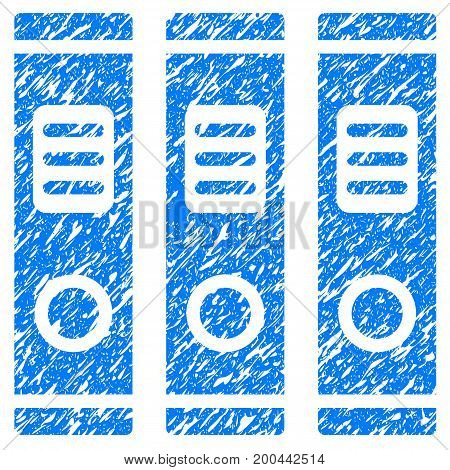 Grunge Office Books icon with grunge design and dust texture. Unclean vector blue pictogram for rubber seal stamp imitations and watermarks. Draft sticker symbol.