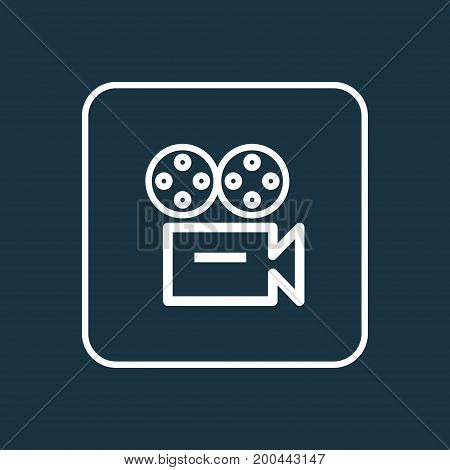 Premium Quality Isolated Video Element In Trendy Style.  Camera Outline Symbol.