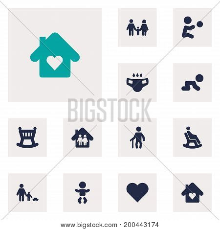 Collection Of Cot, Father With Son, Relatives And Other Elements.  Set Of 12 People Icons Set.