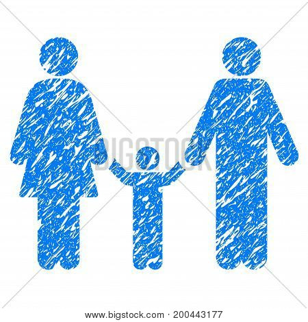 Grunge Parents And Child icon with grunge design and dirty texture. Unclean vector blue pictogram for rubber seal stamp imitations and watermarks. Draft sign symbol.