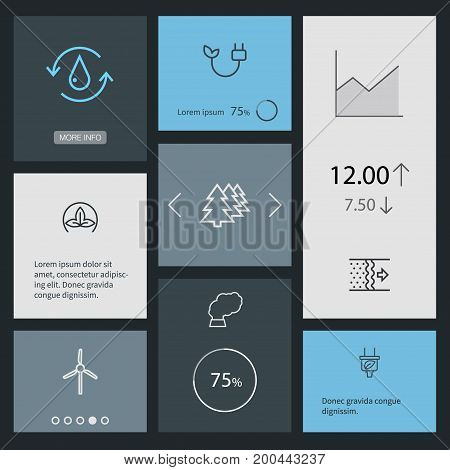 Collection Of Plug, Pollution, Afforestation And Other Elements.  Set Of 8 Ecology Outline Icons Set.