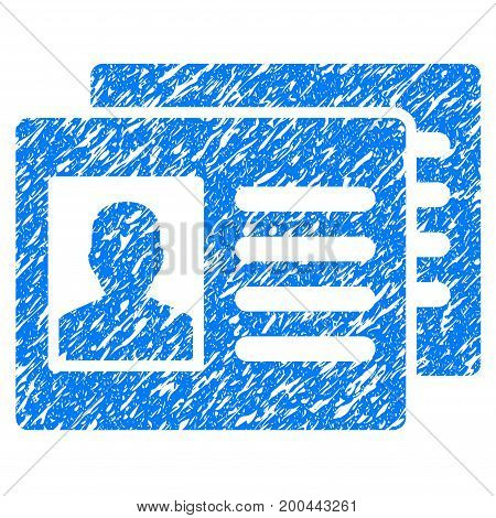 Grunge Patient Accounts icon with grunge design and dirty texture. Unclean vector blue pictogram for rubber seal stamp imitations and watermarks. Draft emblem symbol.