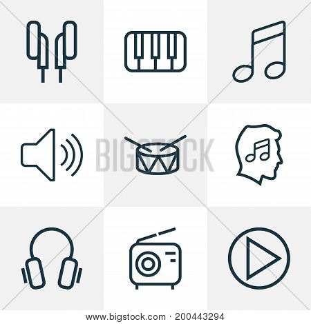Music Outline Icons Set. Collection Of Headphones, Circle, Cover And Other Elements