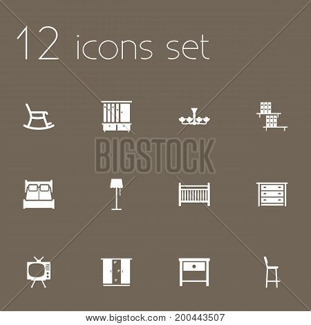 Collection Of Chair, Bedroom, Commode And Other Elements.  Set Of 12 Situation Icons Set.