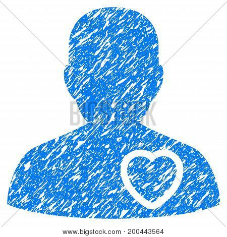 Grunge Patient Heart icon with grunge design and dirty texture. Unclean vector blue pictogram for rubber seal stamp imitations and watermarks. Draft sign symbol.