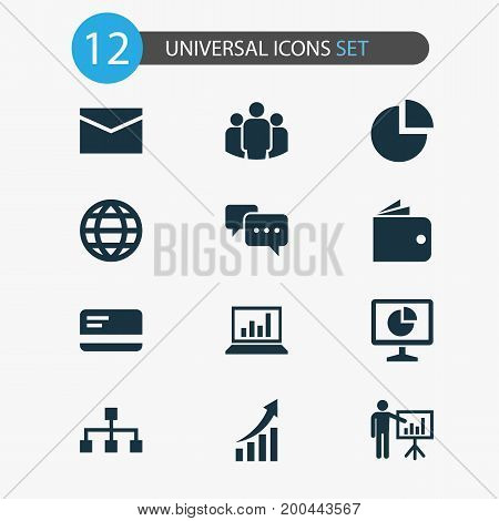 Business Icons Set. Collection Of Payment, Statistics, Hierarchy And Other Elements