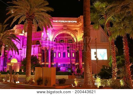 LAS VEGAS - OCT 11 : The Forum shops in Las Vegas on October 11 2016 The mall connected to the Caesars Palace hotel and casino and it simulates ancient Roman streets