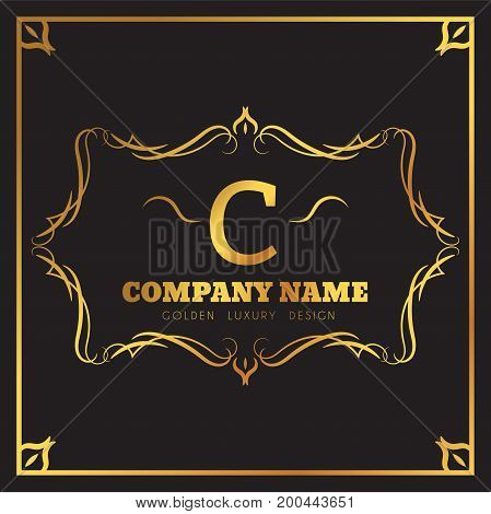 Golden Logo template Elegant flourishes calligraphic. Monogram C letter emblem. Vintage ornament lines. Luxury Business sign, identity for Restaurant, Fashion Boutique, Cafe, Hotel, vector illustration