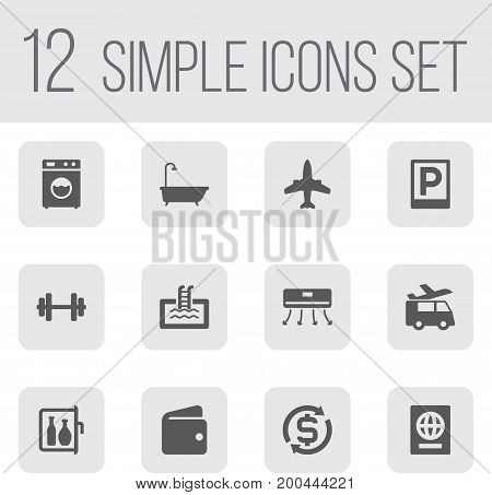 Collection Of Currency, Chiller, Washer Machine And Other Elements.  Set Of 12 Travel Icons Set.