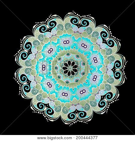 Drawing of a floral mandala in green, white and turquoise colors on a black background. Hand drawn tribal vector stock illustration