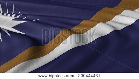 3D illustration of Marshall Islands flag fluttering in light breeze