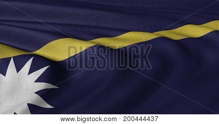 3D illustration of Nauru flag fluttering in light breeze