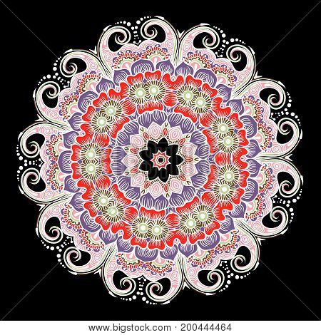 Drawing of a floral mandala in red, violet and pink colors on a black background. Hand drawn tribal vector stock illustration