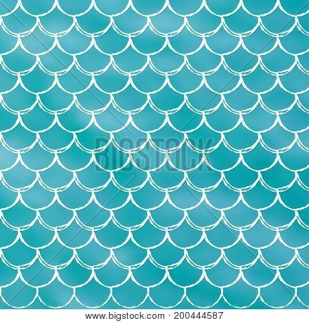 Mermaid scale on trendy gradient background. Square backdrop with mermaid scale ornament. Bright color transitions. Fish tail banner and invitation. Underwater and sea pattern. Turquoise, blue colors.
