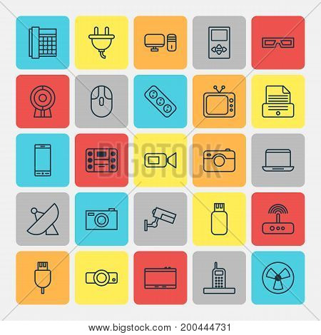 Gadget Icons Set. Collection Of Usb, Universal Serial Bus, Television And Other Elements