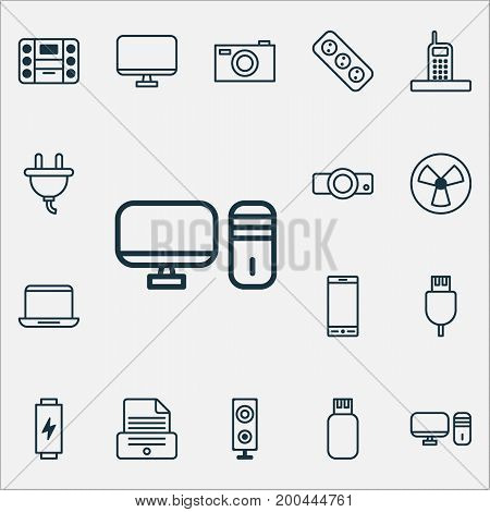 Gadget Icons Set. Collection Of Telephone, Personal Computer, Ventilator And Other Elements