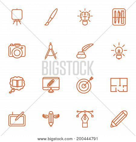 Collection Of Idea, Property Plan, Easel And Other Elements.  Set Of 16 Constructive Outline Icons Set.