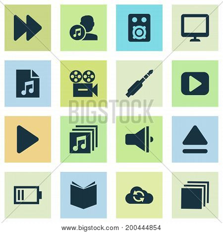 Music Icons Set. Collection Of Video, Learning, Audio And Other Elements