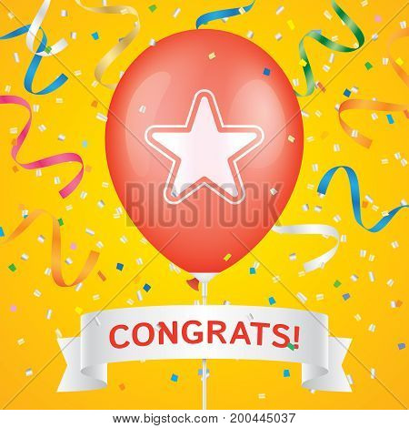 Star printed red ballon with white ribbon and colorfull confetti on a yellow background. Greeting card vector design.