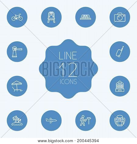 Collection Of Bike, Photo, Building And Other Elements.  Set Of 12 Relax Outline Icons Set.